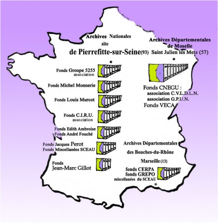 Carte des Fonds d'Archives SCEAU